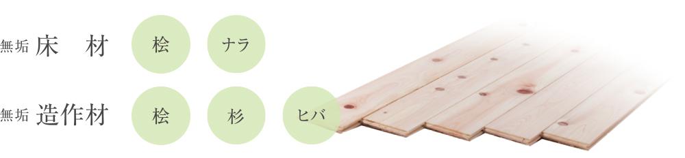 無垢床材(杉・ナラ)無垢造作材(松・杉・ヒバ)